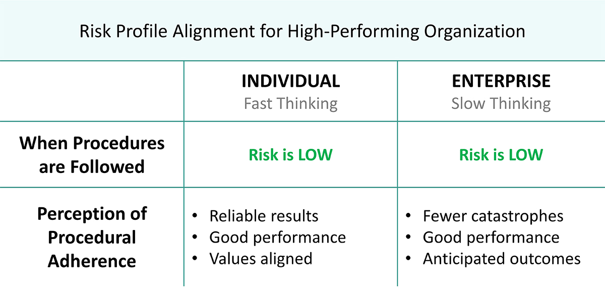 Risk profile alignment table for high performing organizations