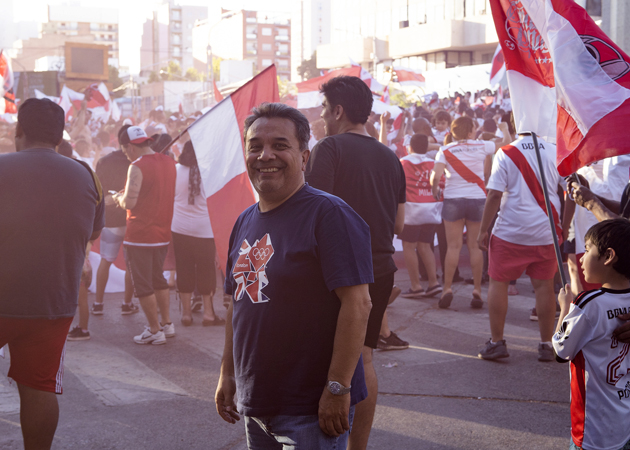 Oil and gas consultant Alex enjoys the local flavor of the 2018 Copa Libertadores street celebration in Argentina